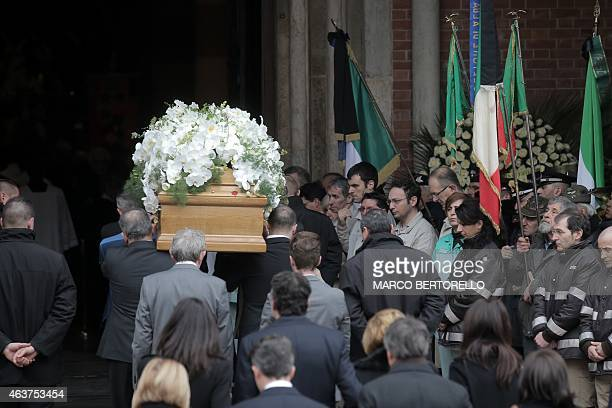 The coffin of Michele Ferrero is carried into the church for the funeral on February 18 2015 in Alba northern Italy Billionaire Michele Ferrero who...