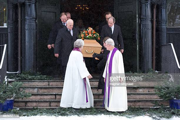 The coffin of Mr Johan Martin Ferner comes from the church after the funeral service on February 2, 2015 in Oslo, Norway.