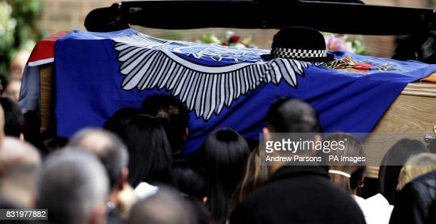 The coffin of murdered Community Support Officer NishaPatel Nasri arrives at Golders Green Cematorium for her funeral today