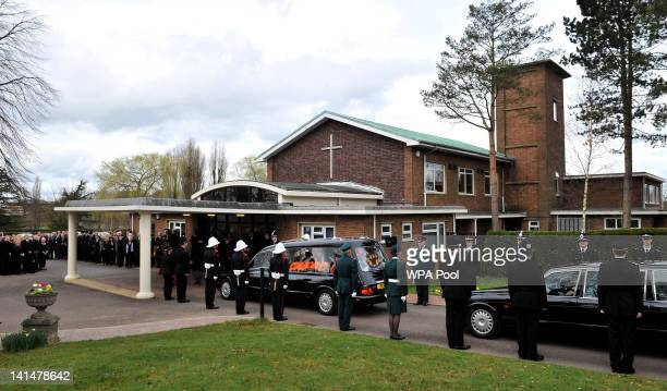 The coffin of Pc David Rathband arrives for his funeral at Stafford Crematorium on March 17 2012 in Stafford England PC Rathband who was shot and...