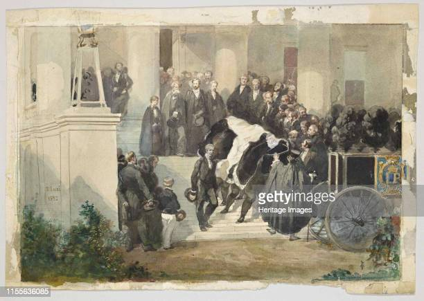 The coffin of Prince Ferdinand Philippe d'Orléans leaves the Château de Clermont, 1842. Found in the Collection of Musée Condé, Chantilly. Artist...