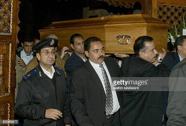 The coffin of Princess Fawzia the daughter of Egypt's last monarch the late King Faruq arrives at the Mohammed Ali cemetery in Cairo's Rifai mosque...