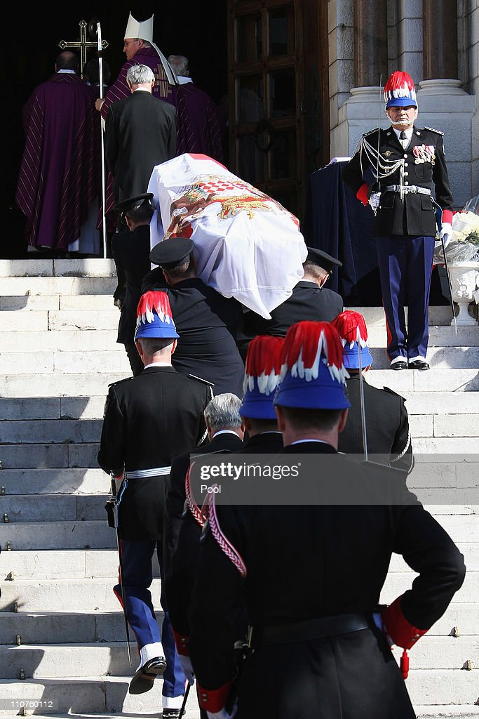 The coffin of Princess Melanie-Antoinette is seen during the funeral of Princess Melanie-Antoinette at Cathedrale Notre-Dame-Immaculee de Monaco on March 24, 2011 in Monaco, Monaco. ((Photo by Pool/Getty Images))