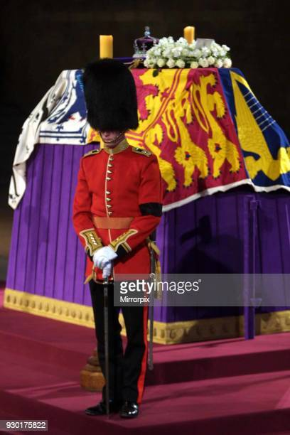 The coffin of Queen Elizabeth, the Queen Mother which lies in state at Westminster Hall in central London April 9 2002,.