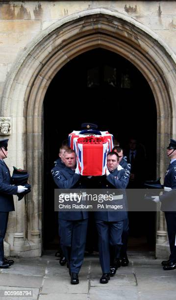 The coffin of Senior Aircraftman Luke Southgate of 2 Squadron RAF Regiment leaves St Mary's Church, following his funeral in Bury St Edmunds, Suffolk.