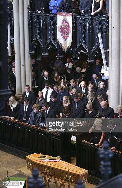 The coffin of snooker star Paul Hunter stands in the aisle of Leeds parish Church during his funeral on October 19 2006 in Leeds England The...