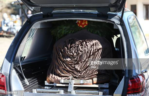 The coffin of Spanish dictator Francisco Franco sits in a hearse after it arrived at the Mingorrubio El Pardo cemetery in a Super Puma helicopter...