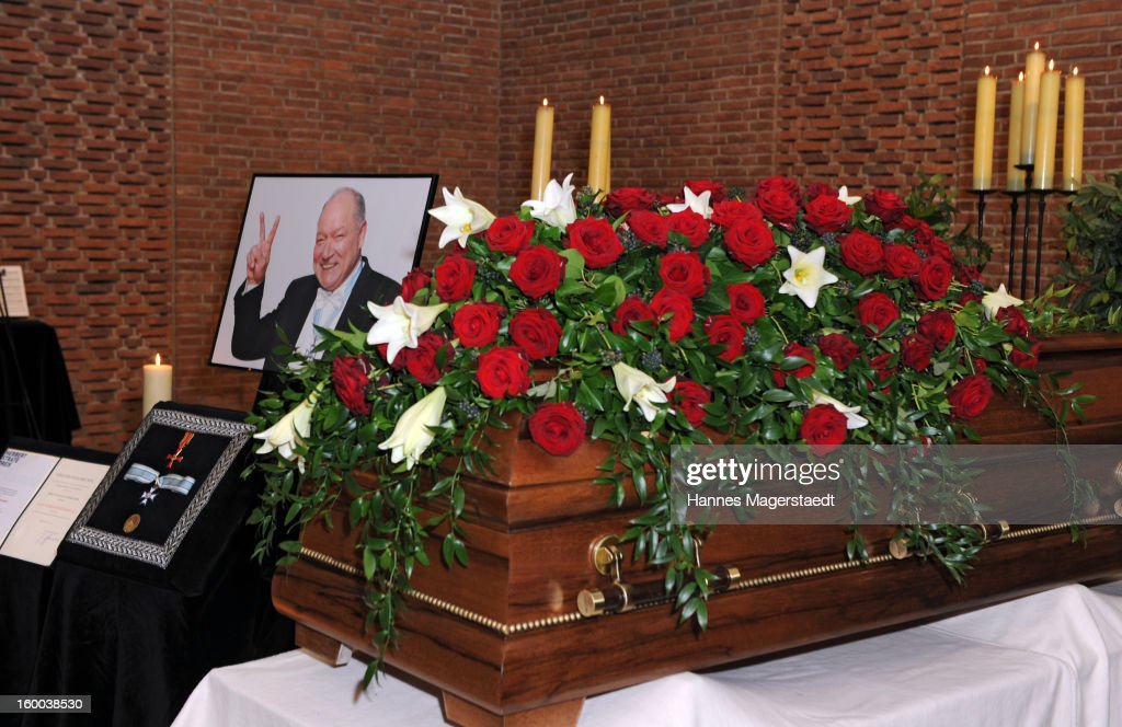 The coffin of Steffen Kuchreuther stands in the chapel during the memorial service for Steffen Kuchenreuther at the Waldfriedhof on January 25, 2013 in Munich, Germany.