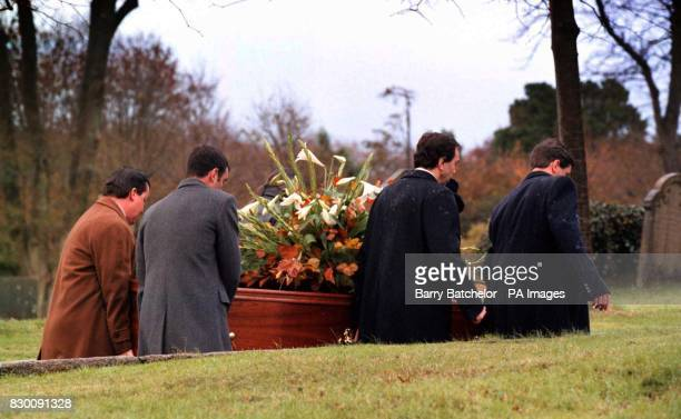 The coffin of Ted Hughes the Poet Laureate arrives for his funeral service in his home village ofNorth Tawton Devon Tuesday November 3 1998 Mr Hughes...