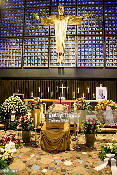 The coffin of the deceased TV Producer Wolfgang Rademann is seen before his memorial service on February 11 2016 in Berlin Germany