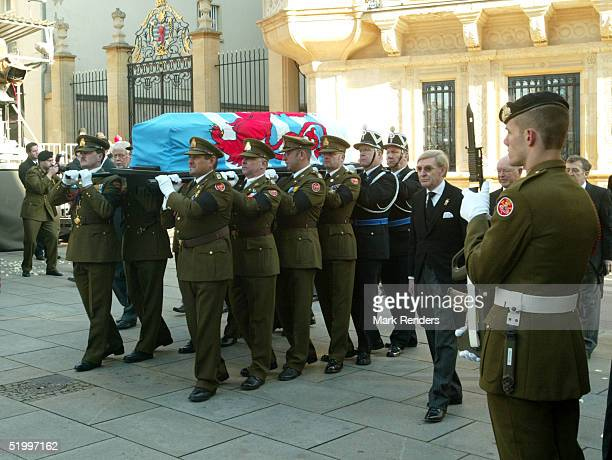 The coffin of the Grand Duchess is carried to the Cathedral for the funeral of the Grand Duchess Josephine Charlotte January 15 2005 in Luxembourg...