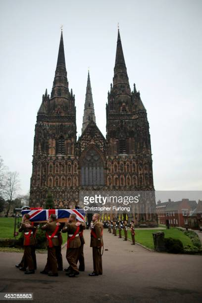 The coffin of Warrant Officer Ian Fisher from The 3rd Battalion, The Mercian Regiment arrives at Lichfield Cathedral for his funeral service on...