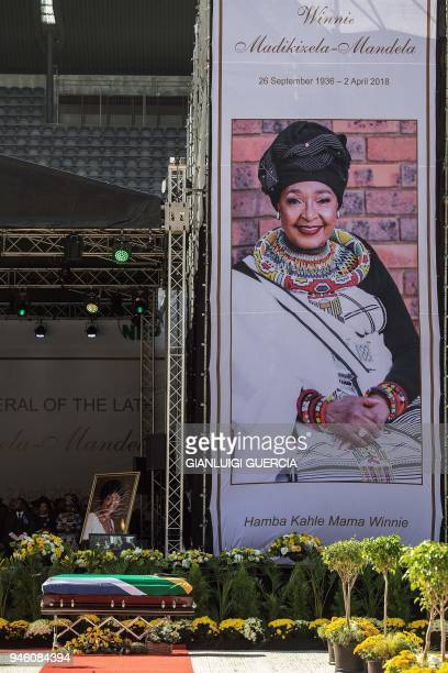 The coffin of Winnie MadikizelaMandela is displayed in front of the stage at Orlando Stadium for the funeral ceremony in Soweto South Africa on April...