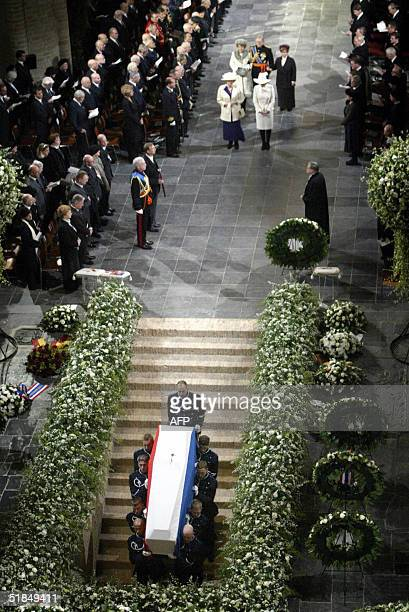The coffin with the remains of Dutch Prince Bernhard father of Queen Beatrix is carried into the royal crypt at Nieuwe Kerk in Delft near the Hague...