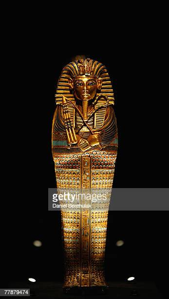 The Coffinette for the Viscera of Tutankhamun on display during the press viewing of the Tutankhamun Exhibition The Golden Age of the Pharaohs at...