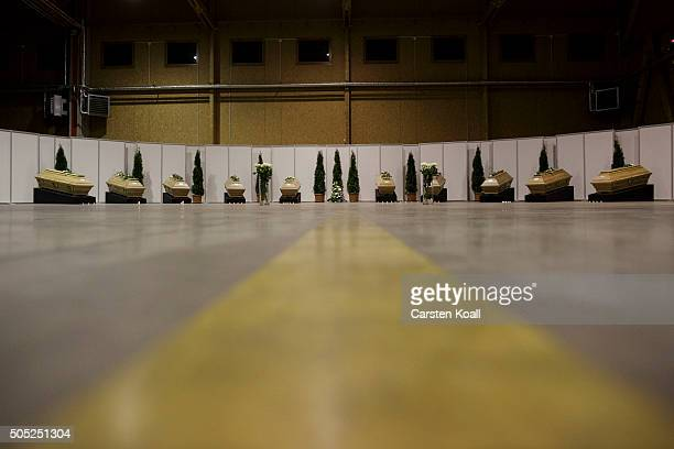 The coffins of the victims of the recent terror attack in Istanbul are laid upon their arrival on a Luftwaffe transport plane at Tegel airport on...
