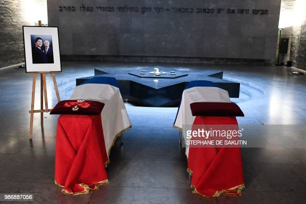 The coffins of women's rights icon Simone and her husband Antoine Veil are drapped in the French national flag at French Holocaust memorial in Paris...