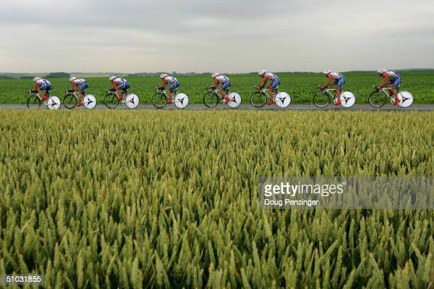 The Cofidis team competes in the Team Time Trial as they finished 19th during Stage 4 of the Tour de France July 7 2004 from Cambrai to Arrasl France
