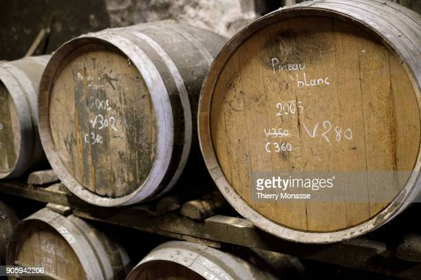 The Cognac ages in barrels at the distillery of the Guy Pinard Organic farming Cognac and Pineau des Charentes producer