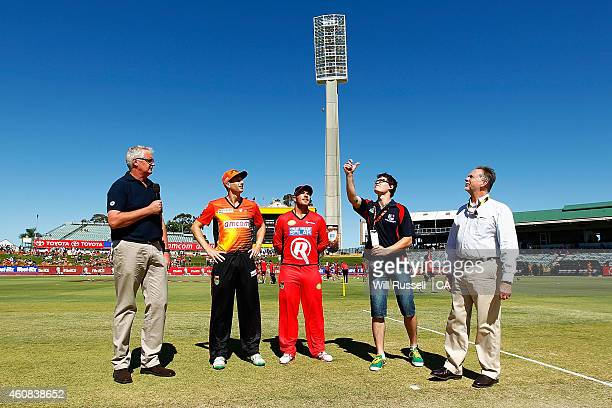 The coin toss at the start of the Big Bash League match between the Perth Scorchers and the Melbourne Renegades at WACA on December 26 2014 in Perth...