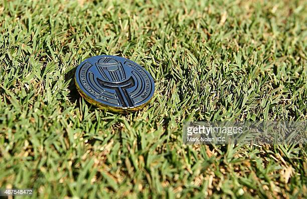 The coin used in the coin toss is pictured before the 2015 Cricket World Cup Semi Final match between Australia and India at Sydney Cricket Ground on...
