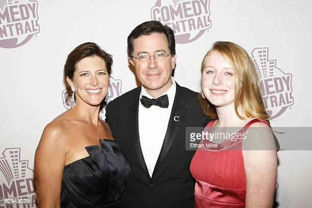 The Colbert Report talk show host Stephen Colbert C his wife Evie Colbert and daughter Madeleine Colbert arrive at Comedy Central's Emmy Awards party...