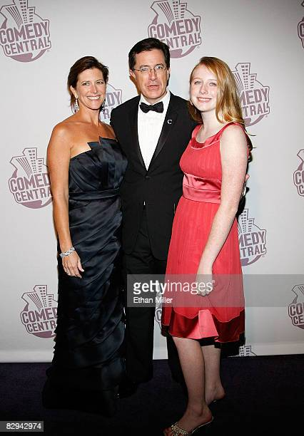 The Colbert Report talk show host Stephen Colbert his wife Evie Colbert and daughter Madeleine Colbert arrive at Comedy Central's Emmy Awards party...