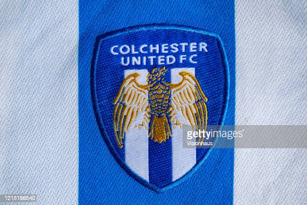 The Colchester United club badge displayed on their home kit on March 27, 2020 in Manchester, England