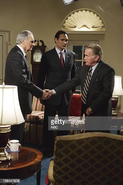 "The Cold"" Episode 13 -- Aired 3/12/2006 -- Pictured: Alan Alda as Senator Arnold Vinick, Jimmy Smits as Congressman Matthew Santos, Martin Sheen as..."