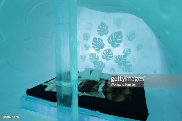 The Cold Rooms in the classic Icehotel in Jukkasjarvi near Kiruna in Swedish Lapland; northern Sweden.