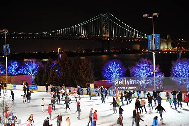 CONTENT] The cold winter weather allows ice skaters to enjoy skating outdoors at the Blue Cross River Rink along Penn's Landing in Philadelphia PA...