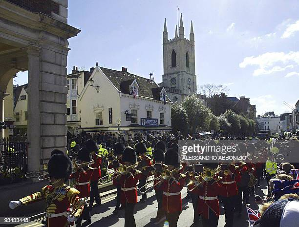 The Coldstream Guards march past The Guildhall before The Royal Wedding between Prince Charles and Camilla Parker Bowles 09 April 2005 before their...