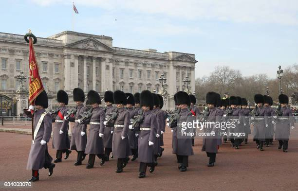 The Coldstream Guards outside Buckingham Palace in London during the Changing the Guard ceremony as Queen Elizabeth II has made history by becoming...