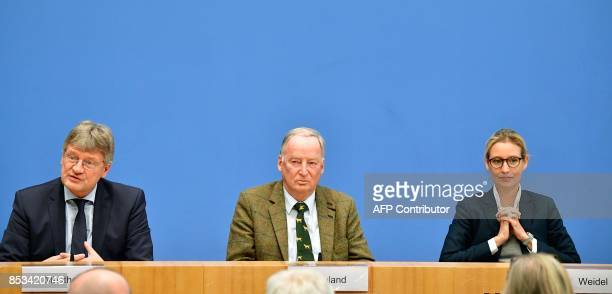 The coleader of Germany's nationalist Alternative for Germany Joerg Meuthen AfD top candidate Alexander Gauland and AfD top candidate Alice Weidel...