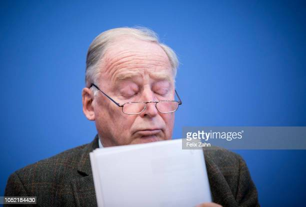 The coleader of the farright party Alternative for Germany Alexander Gauland gives a statement on the aftermath of the Bavarian state elections on...