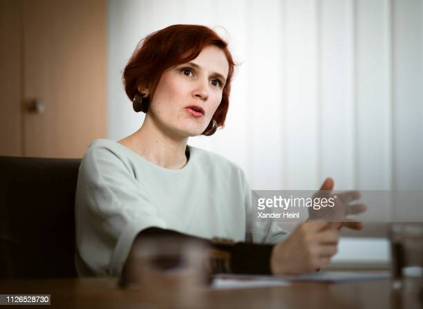 The coleader of the leftwing party Die Linke Katja Kipping during an Interview at Karl Liebknecht House the headquarters of the Party The Left on...