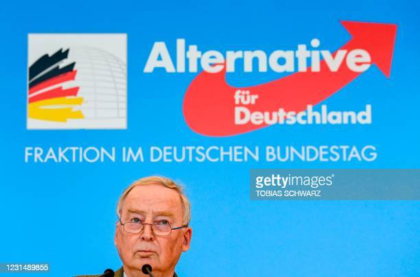 The co-leader of the parliamentary group of the Alternative for Germany far-right party Alexander Gauland addresses a press conference, on March 3,...