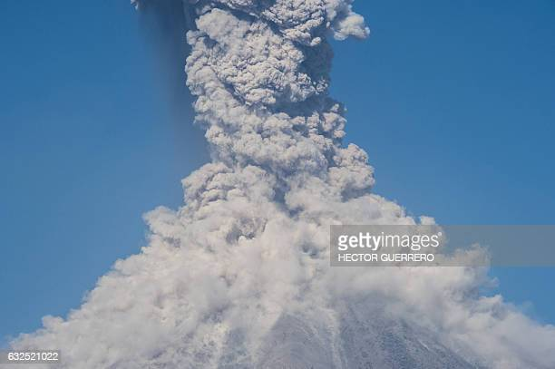 The Colima or Fuego volcano spews ash and smoke on January 23 as seen from San Antonio Colima State Mexico The Colima volcano is one of the most...