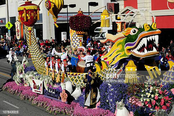 The 'Collaboration Builds Friendship and Winners' float sponsored by Taiwan's China Airlines rolls down Colorado Blvd down Colorado Boulevard in the...