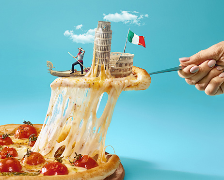 The collage about Italy with female hand, gondolier, pizza and and major sights 931209742