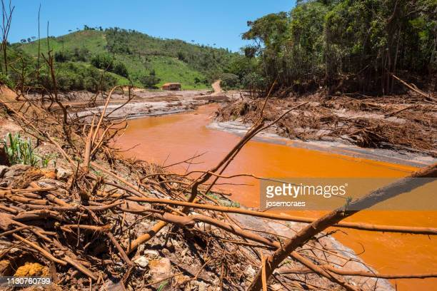 the collapse of samarco's fundao mining dam in mariana-minas gerais, brazil - mining accident stock pictures, royalty-free photos & images