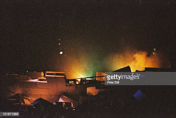 The collapsed wall lies smoking and in ruins at the end of the concert by Pink Floyd on 'The Wall' tour at Earls Court Arena on August 7th 1980 in...