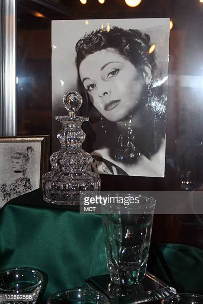 The collection includes Vivien Leigh's personal items including this crystal barware from her home