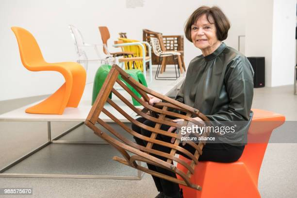 The collector Gisela Neuwald sits at the exhibition only chairs Children's chairs from Sammlung Neuwald hosted by the Pinakothek der Moderne in...