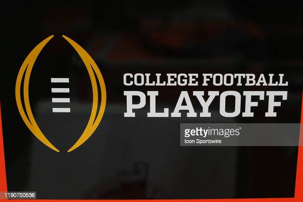 The college football playoff logo before the Fiesta Bowl college football playoff semi final game between the Clemson Tigers and the Ohio State...