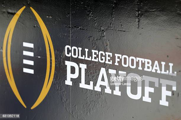 The College Football Playoff logo is seen before the 2017 College Football Playoff National Championship Game at Raymond James Stadium on January 9,...