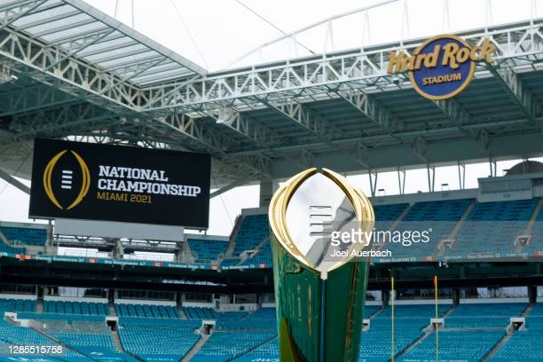 The College Football Playoff National Championship Trophy is displayed at Hard Rock Stadium on November 11, 2020 in Miami Gardens, Florida. The...