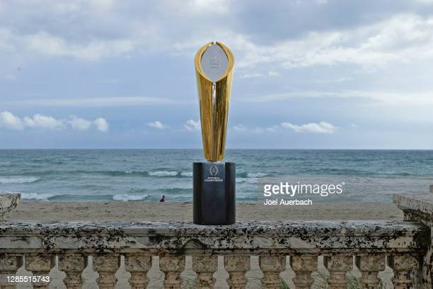 The College Football Playoff National Championship Trophy is displayed on November 12, 2020 in Palm Beach, Florida. The Championship game will be...