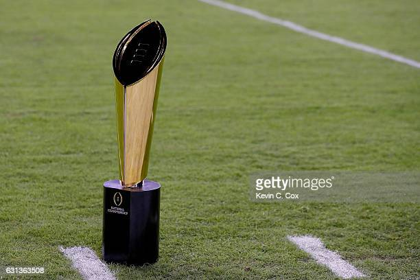 The College Football Playoff National Championship Trophy presented by Dr Pepper is seen prior to the 2017 College Football Playoff National...