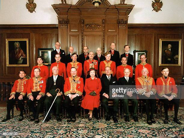 The College of Arms with HM The Queen and HRH The Duke of Edinburgh in the Earl Marshal's Court at the College on the occasion of the Royal visit to...